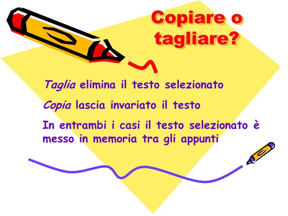 Copiare o tagliare Taglia elimina il testo selezionato