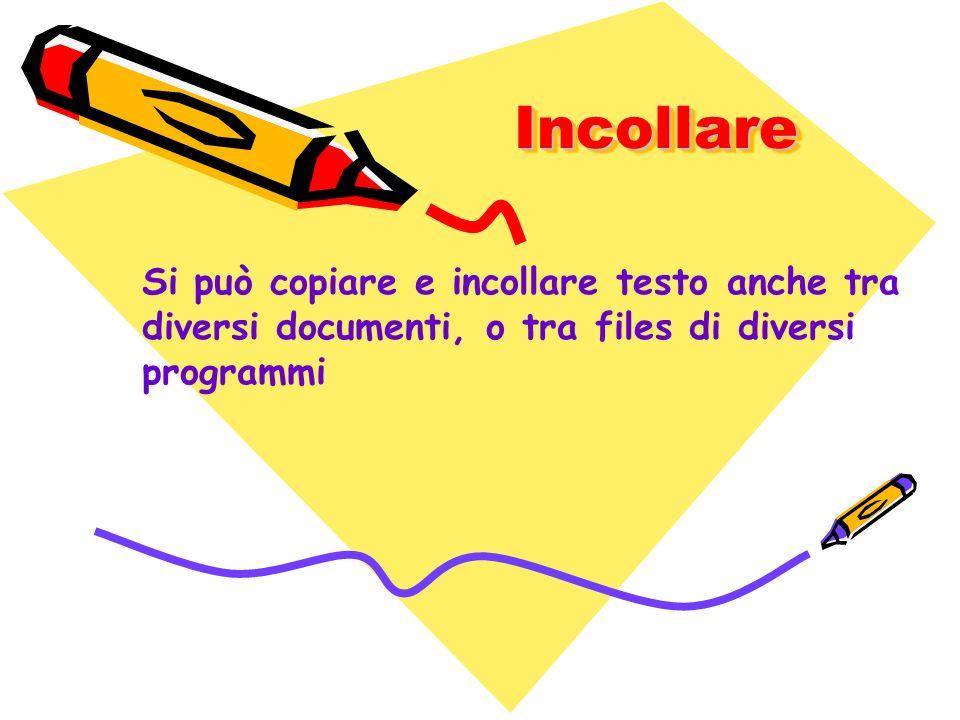 Incollare Si può copiare e incollare testo anche tra diversi documenti, o tra files di diversi programmi.