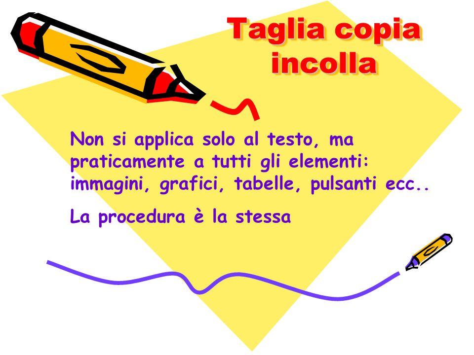 Taglia copia incolla Non si applica solo al testo, ma praticamente a tutti gli elementi: immagini, grafici, tabelle, pulsanti ecc..