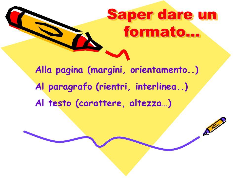 Saper dare un formato… Alla pagina (margini, orientamento..)