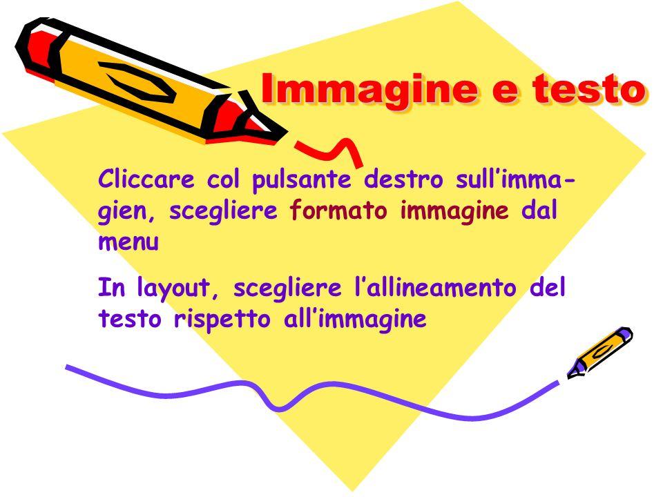 Immagine e testo Cliccare col pulsante destro sull'imma-gien, scegliere formato immagine dal menu.