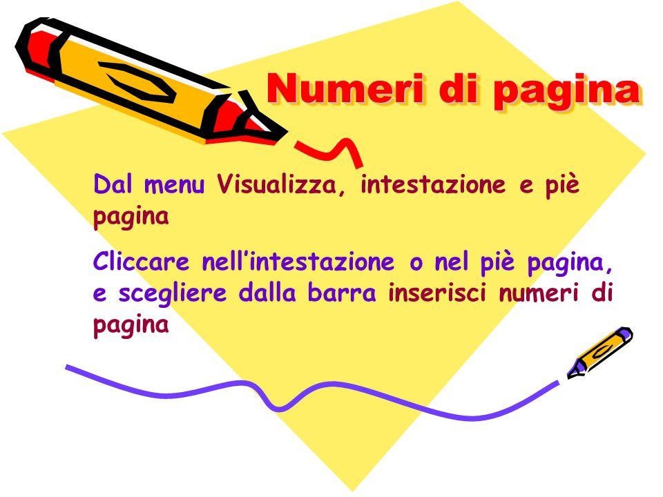 Numeri di pagina Dal menu Visualizza, intestazione e piè pagina