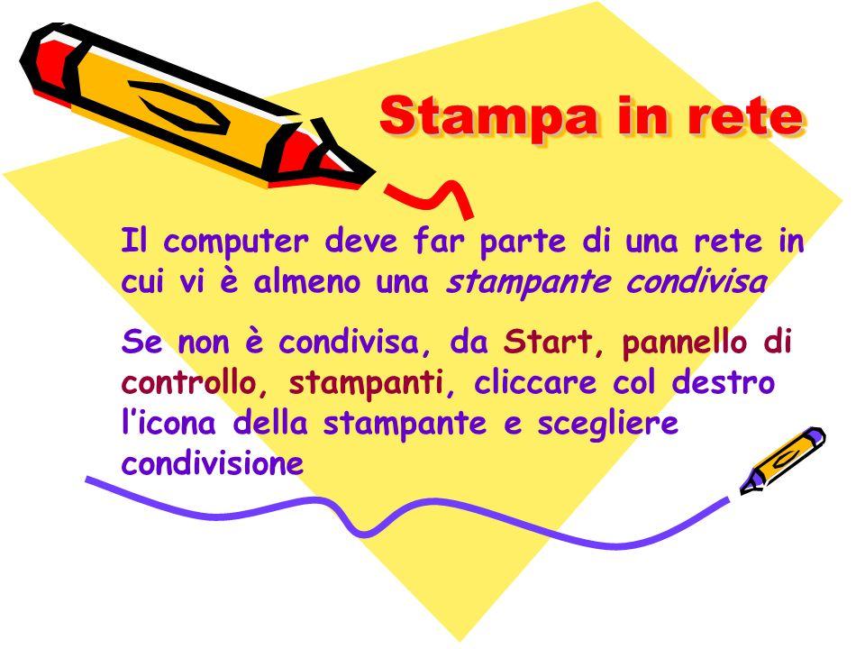 Stampa in rete Il computer deve far parte di una rete in cui vi è almeno una stampante condivisa.