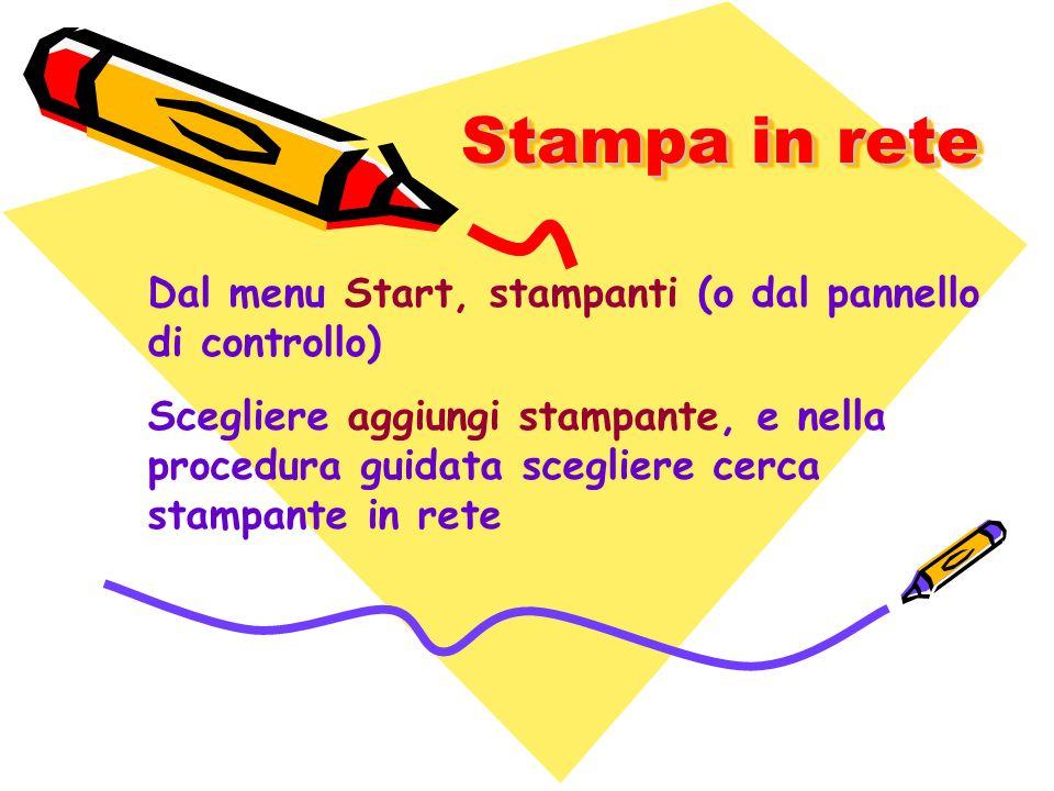 Stampa in rete Dal menu Start, stampanti (o dal pannello di controllo)