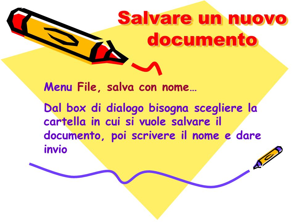 Salvare un nuovo documento