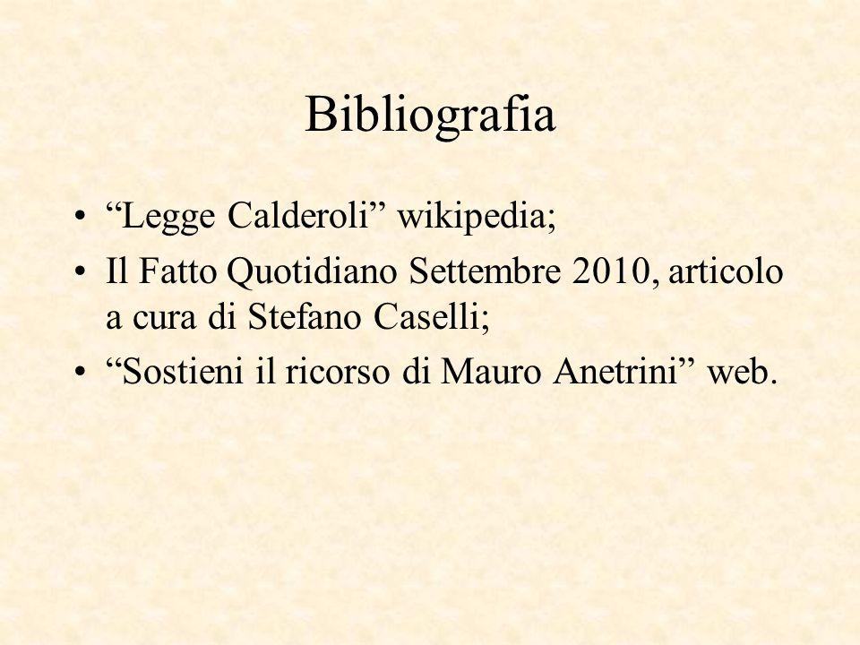 Bibliografia Legge Calderoli wikipedia;