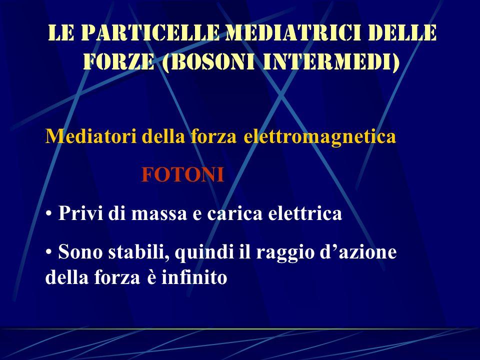 Le particelle mediatrici delle forze (bosoni intermedi)