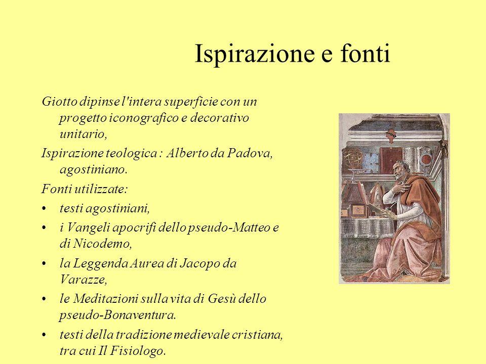 Ispirazione e fonti Giotto dipinse l intera superficie con un progetto iconografico e decorativo unitario,
