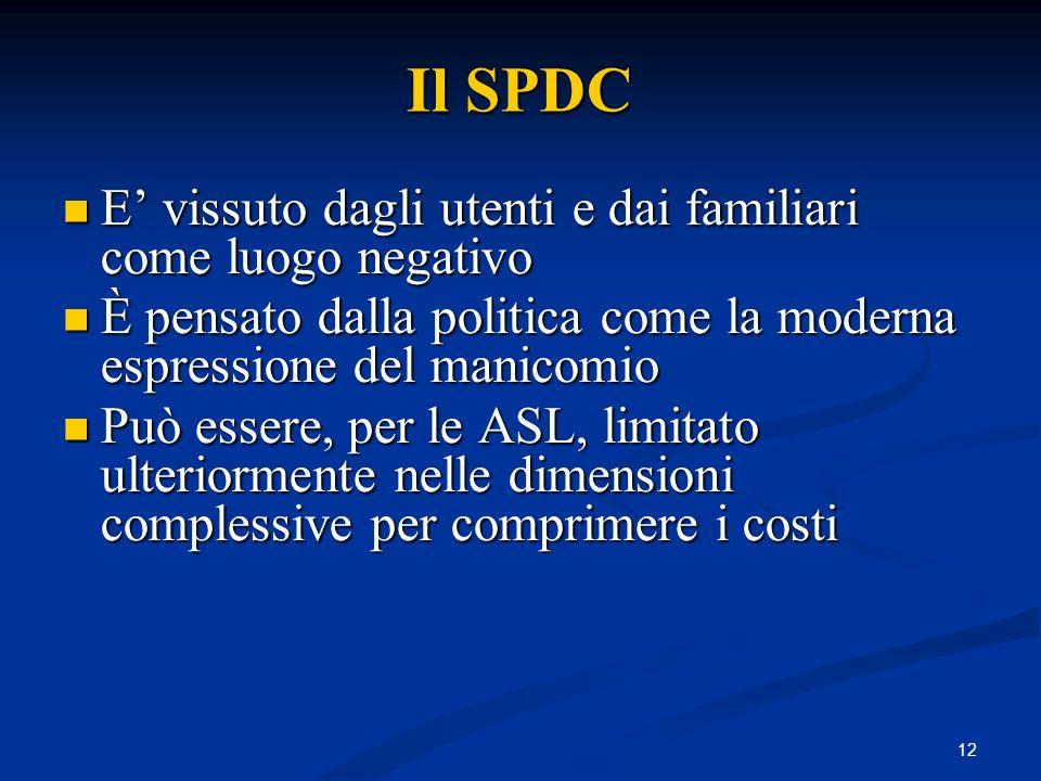 Il SPDC E' vissuto dagli utenti e dai familiari come luogo negativo