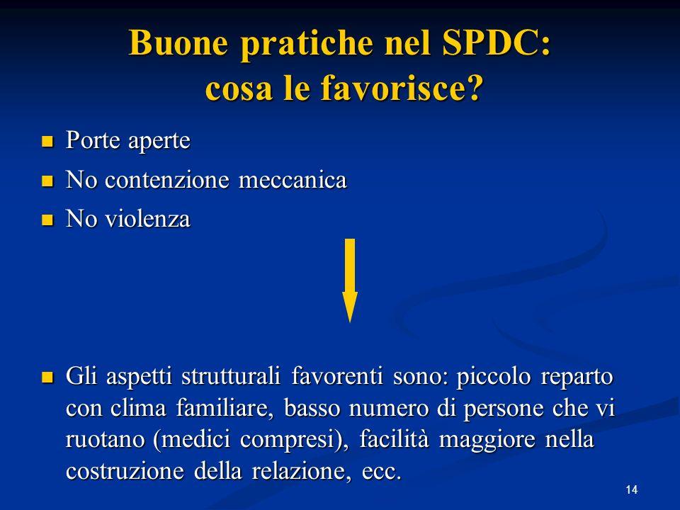 Buone pratiche nel SPDC: cosa le favorisce