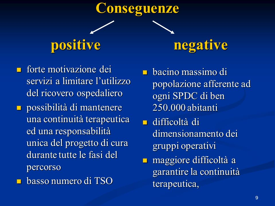 Conseguenze positive negative
