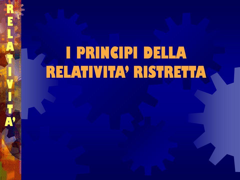 I PRINCIPI DELLA RELATIVITA' RISTRETTA