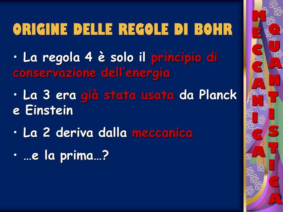 ORIGINE DELLE REGOLE DI BOHR