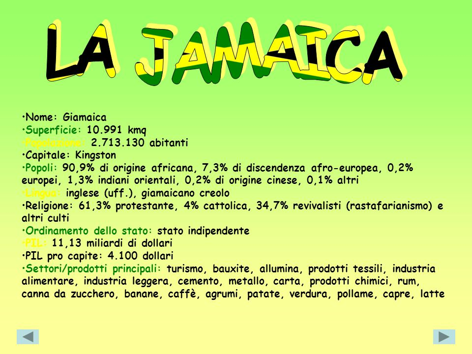LA JAMAICA Nome: Giamaica Superficie: 10.991 kmq