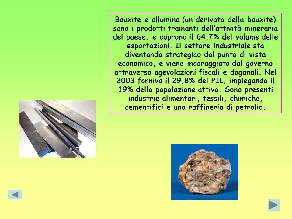 Bauxite e allumina (un derivato della bauxite) sono i prodotti trainanti dell'attività mineraria del paese, e coprono il 64,7% del volume delle esportazioni.