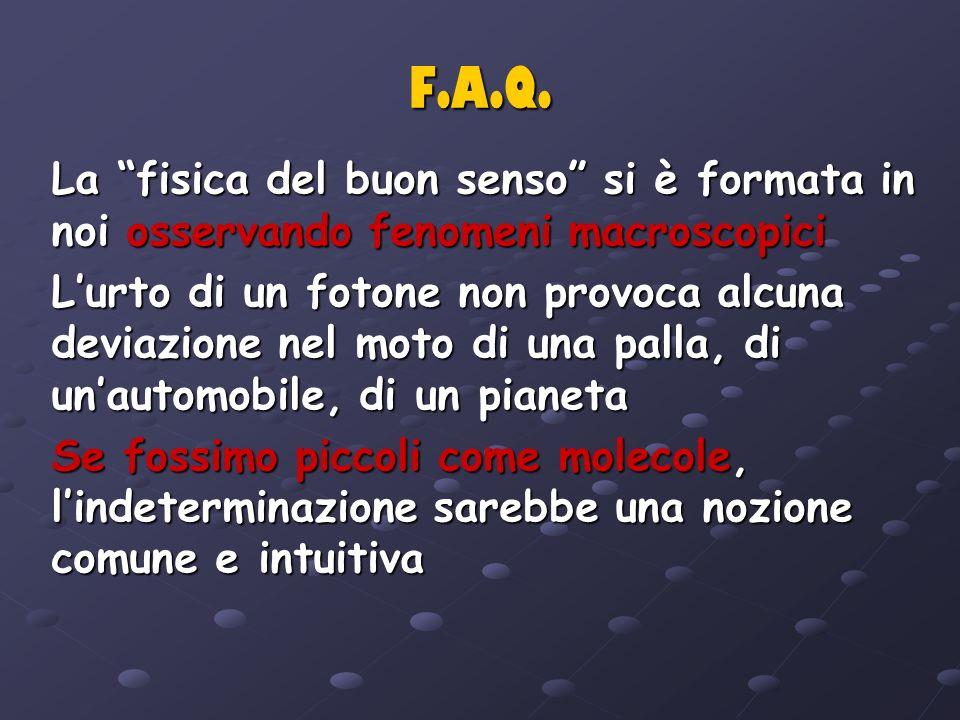 F.A.Q. La fisica del buon senso si è formata in noi osservando fenomeni macroscopici.