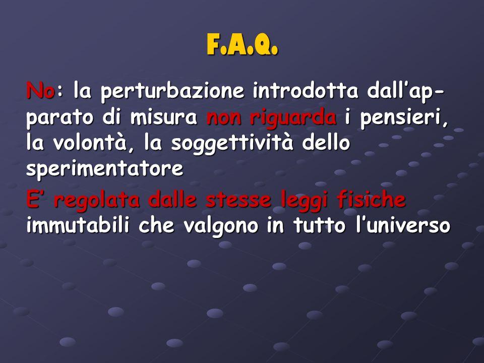 F.A.Q. No: la perturbazione introdotta dall'ap-parato di misura non riguarda i pensieri, la volontà, la soggettività dello sperimentatore.