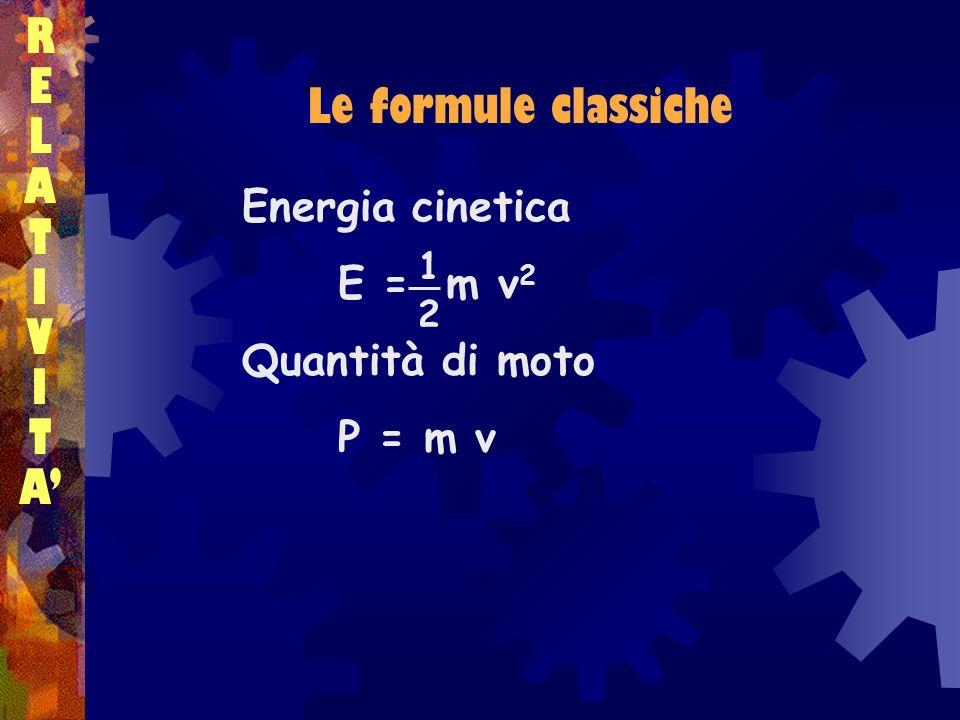 R E L Le formule classiche A T I V A' Energia cinetica E = m v2