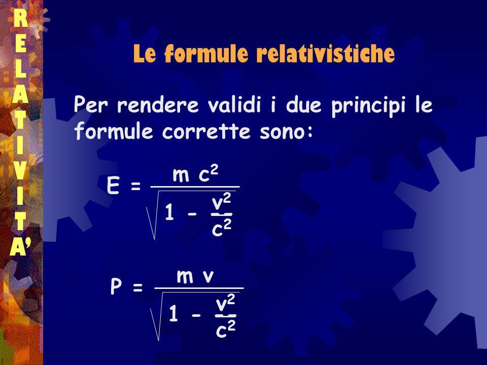 Le formule relativistiche
