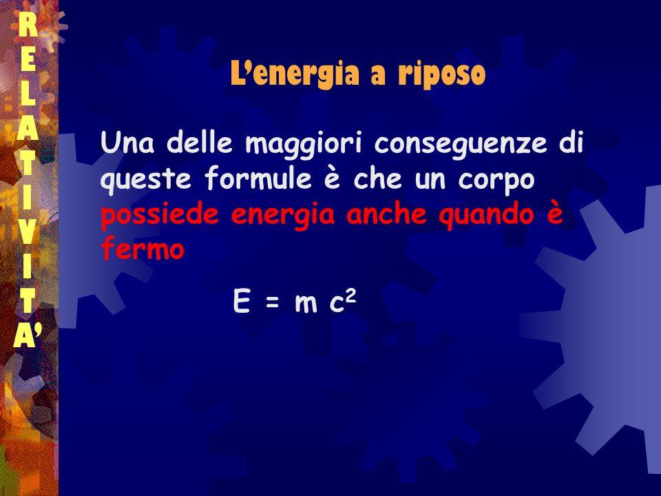 R E L L'energia a riposo A T I V A'