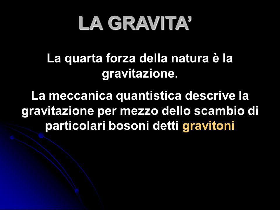 La quarta forza della natura è la gravitazione.