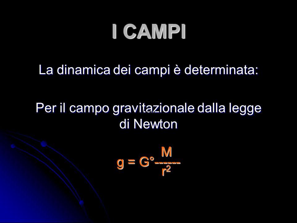 I CAMPI La dinamica dei campi è determinata: