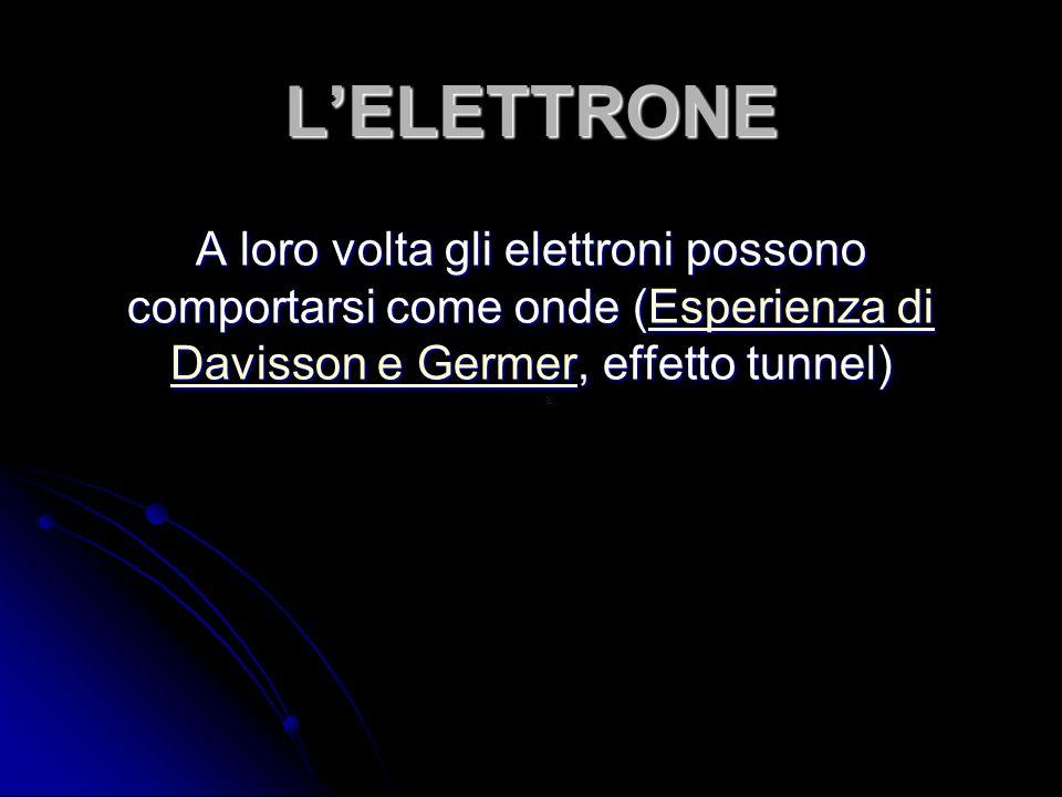 L'ELETTRONE A loro volta gli elettroni possono comportarsi come onde (Esperienza di Davisson e Germer, effetto tunnel)