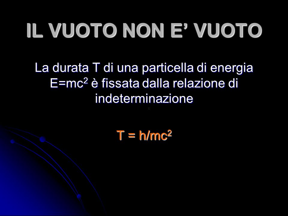 IL VUOTO NON E' VUOTO La durata T di una particella di energia E=mc2 è fissata dalla relazione di indeterminazione.