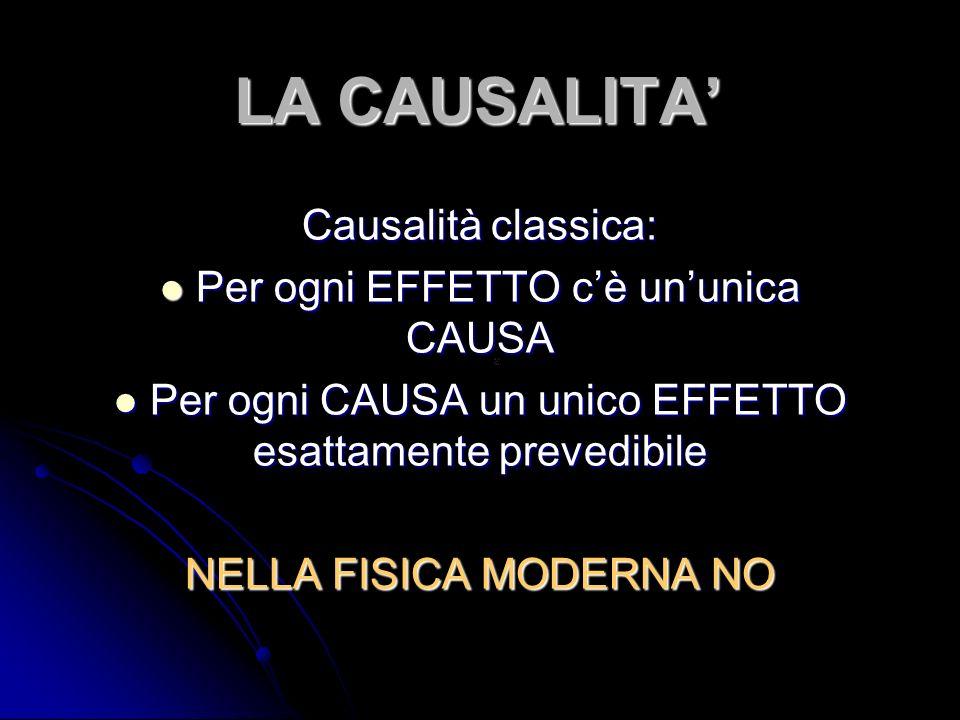 LA CAUSALITA' Causalità classica: Per ogni EFFETTO c'è un'unica CAUSA