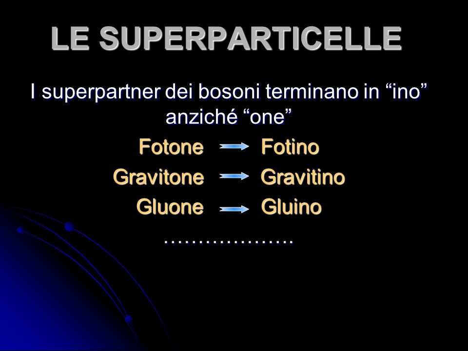 I superpartner dei bosoni terminano in ino anziché one