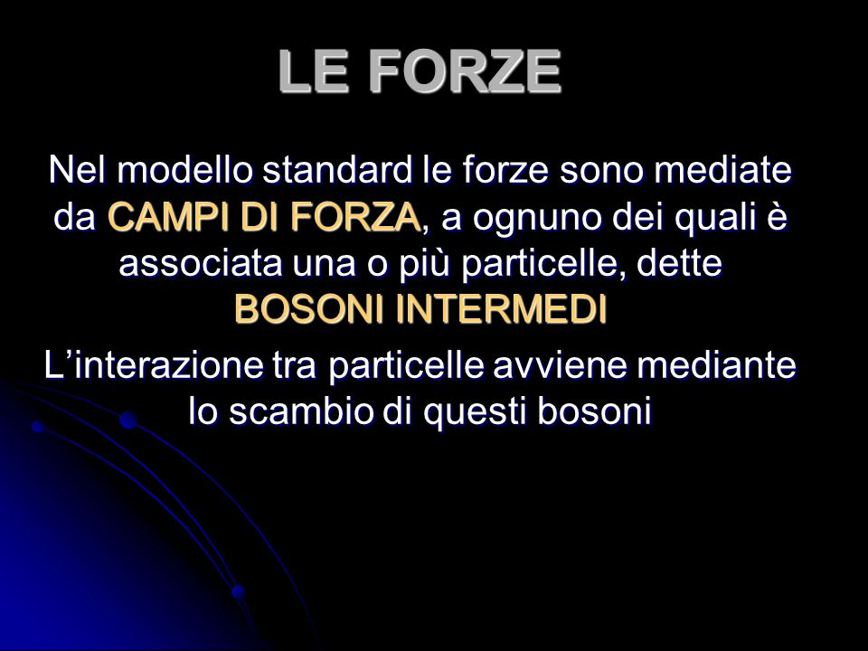 LE FORZE Nel modello standard le forze sono mediate da CAMPI DI FORZA, a ognuno dei quali è associata una o più particelle, dette BOSONI INTERMEDI.