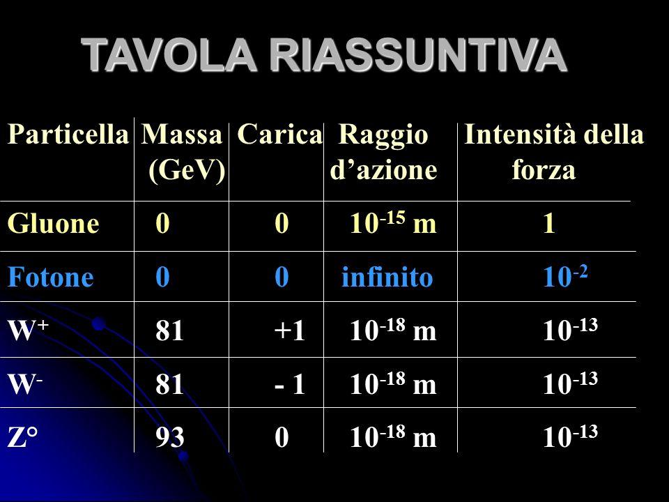 TAVOLA RIASSUNTIVA Particella Massa Carica Raggio Intensità della . (GeV) d'azione forza.