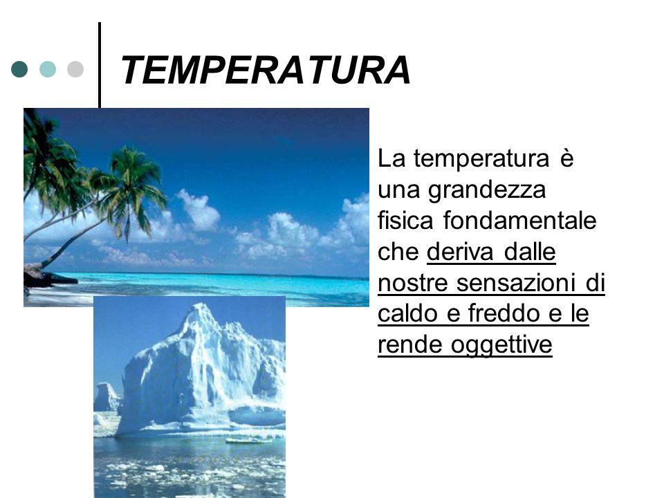 TEMPERATURA La temperatura è una grandezza fisica fondamentale che deriva dalle nostre sensazioni di caldo e freddo e le rende oggettive.