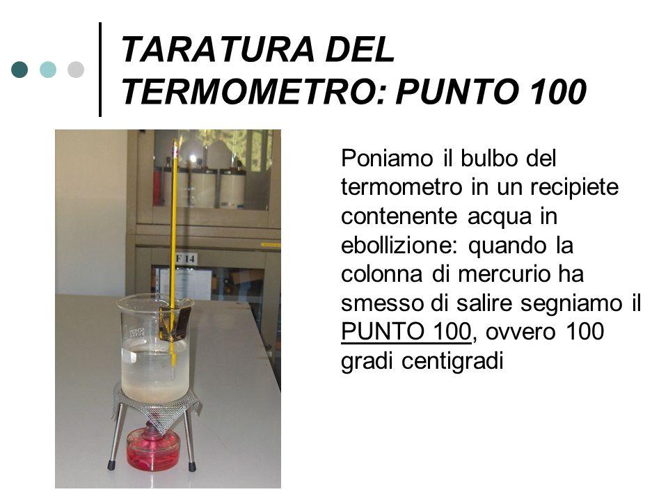 TARATURA DEL TERMOMETRO: PUNTO 100