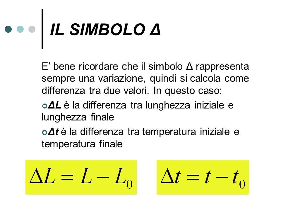 IL SIMBOLO Δ E' bene ricordare che il simbolo Δ rappresenta sempre una variazione, quindi si calcola come differenza tra due valori. In questo caso:
