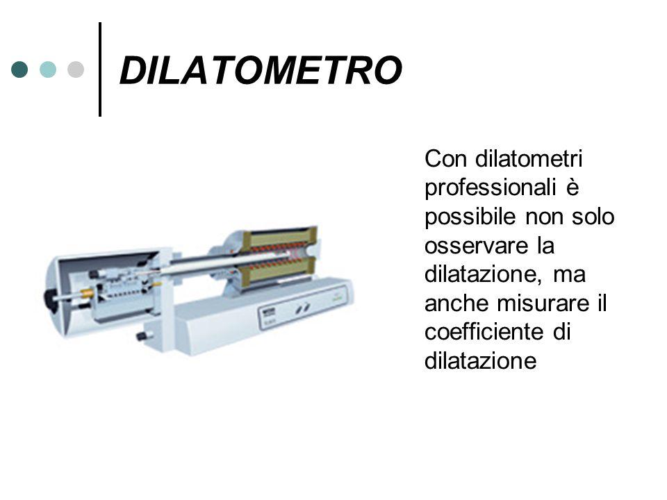 DILATOMETRO Con dilatometri professionali è possibile non solo osservare la dilatazione, ma anche misurare il coefficiente di dilatazione.