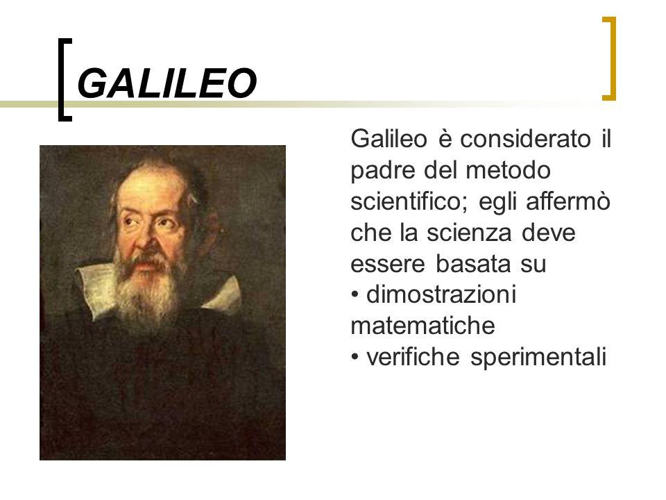 GALILEO Galileo è considerato il padre del metodo scientifico; egli affermò che la scienza deve essere basata su.