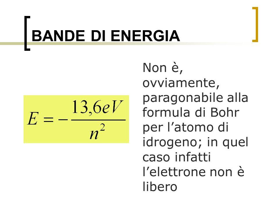 BANDE DI ENERGIA Non è, ovviamente, paragonabile alla formula di Bohr per l'atomo di idrogeno; in quel caso infatti l'elettrone non è libero.