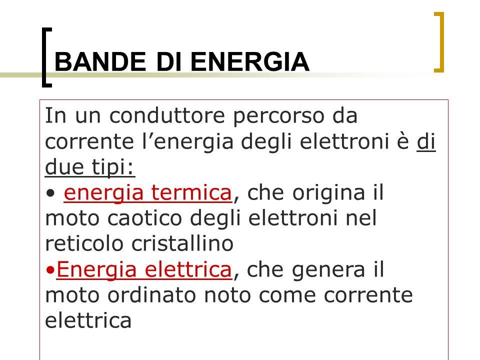BANDE DI ENERGIA In un conduttore percorso da corrente l'energia degli elettroni è di due tipi:
