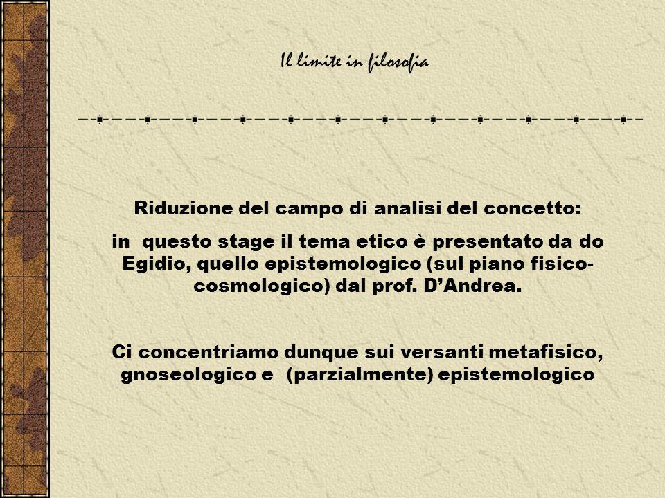 Riduzione del campo di analisi del concetto: