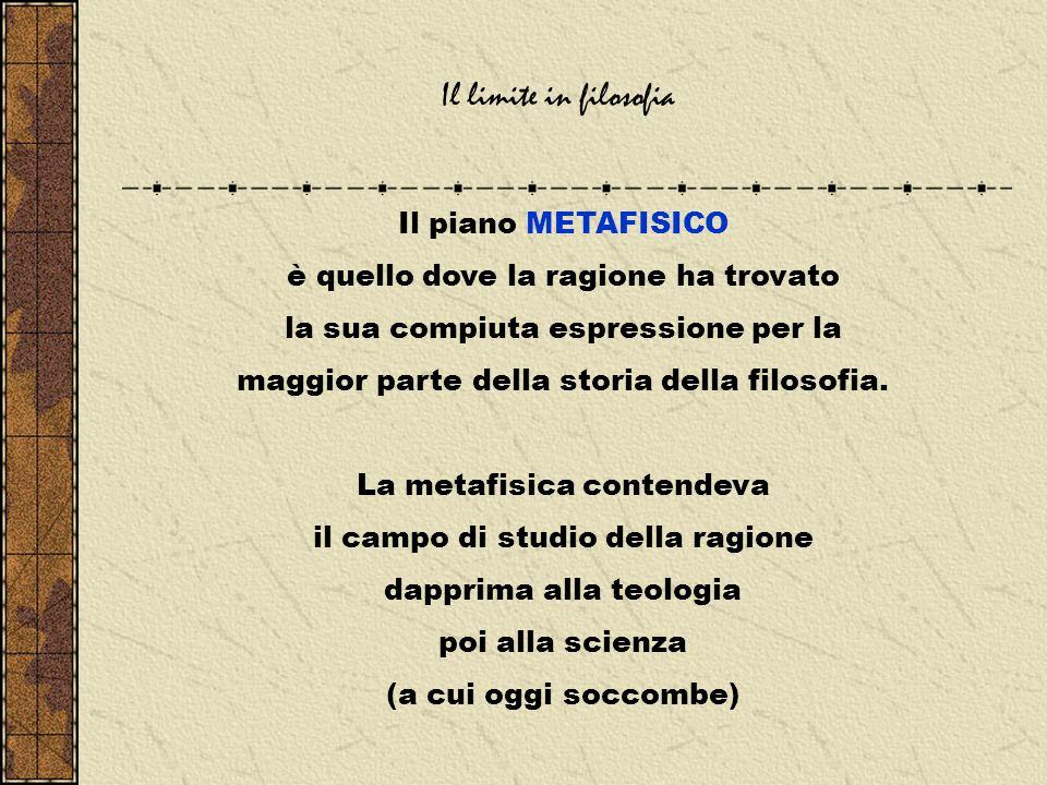 Il limite in filosofia Il piano METAFISICO