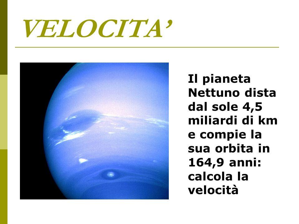 VELOCITA' Il pianeta Nettuno dista dal sole 4,5 miliardi di km e compie la sua orbita in 164,9 anni: calcola la velocità.
