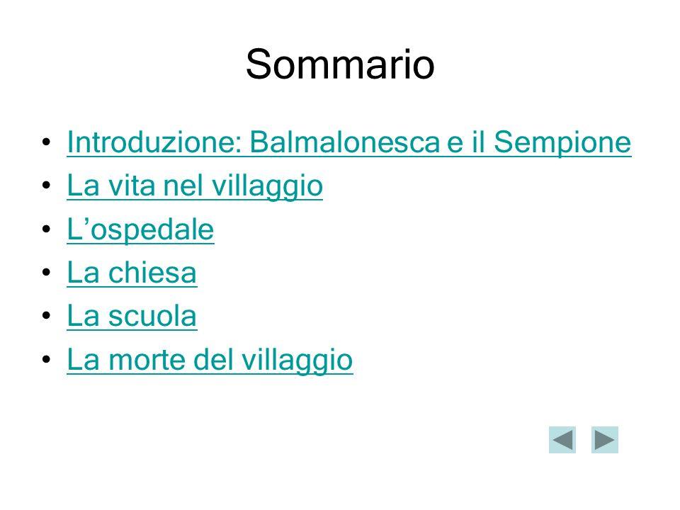 Sommario Introduzione: Balmalonesca e il Sempione