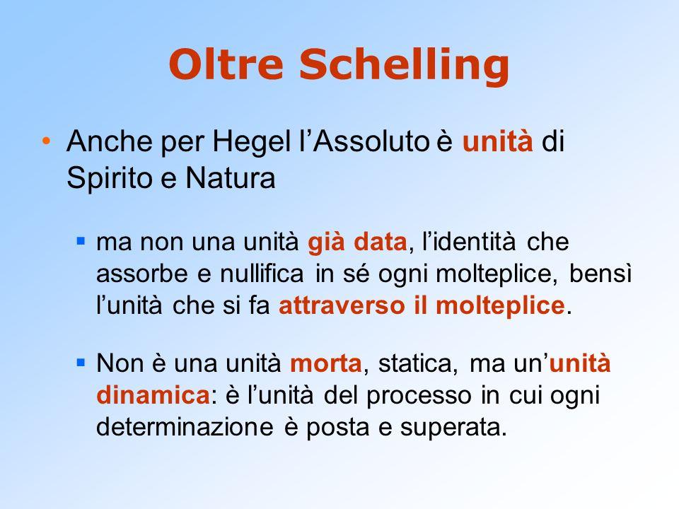 Oltre Schelling Anche per Hegel l'Assoluto è unità di Spirito e Natura
