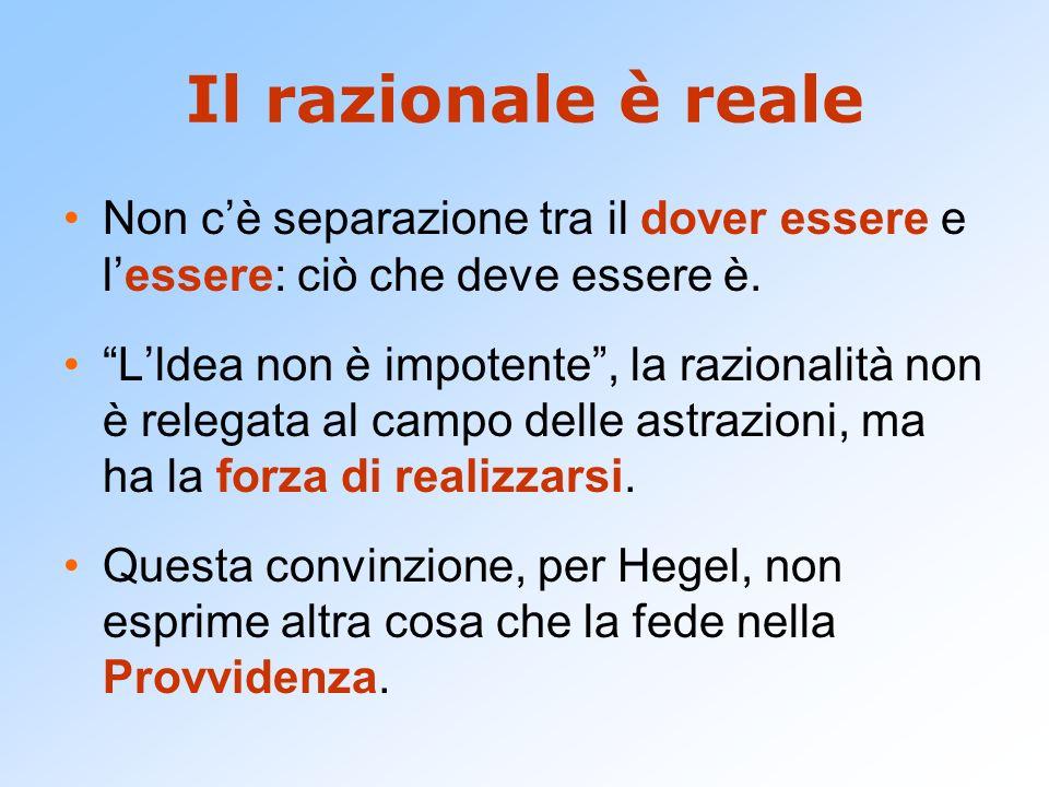Il razionale è reale Non c'è separazione tra il dover essere e l'essere: ciò che deve essere è.