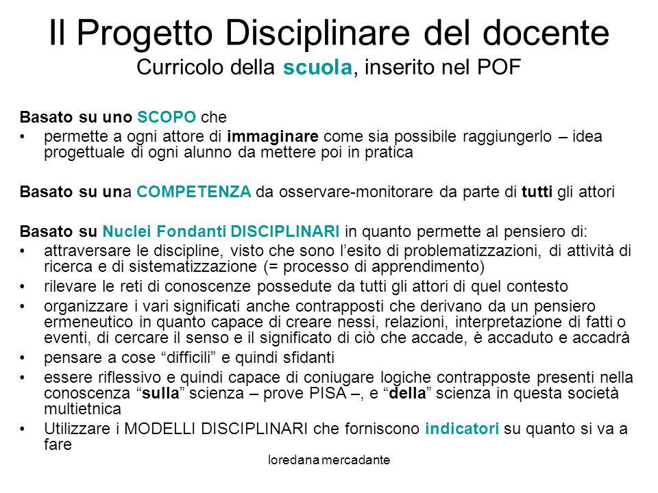 Il Progetto Disciplinare del docente Curricolo della scuola, inserito nel POF