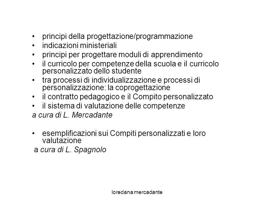 principi della progettazione/programmazione indicazioni ministeriali
