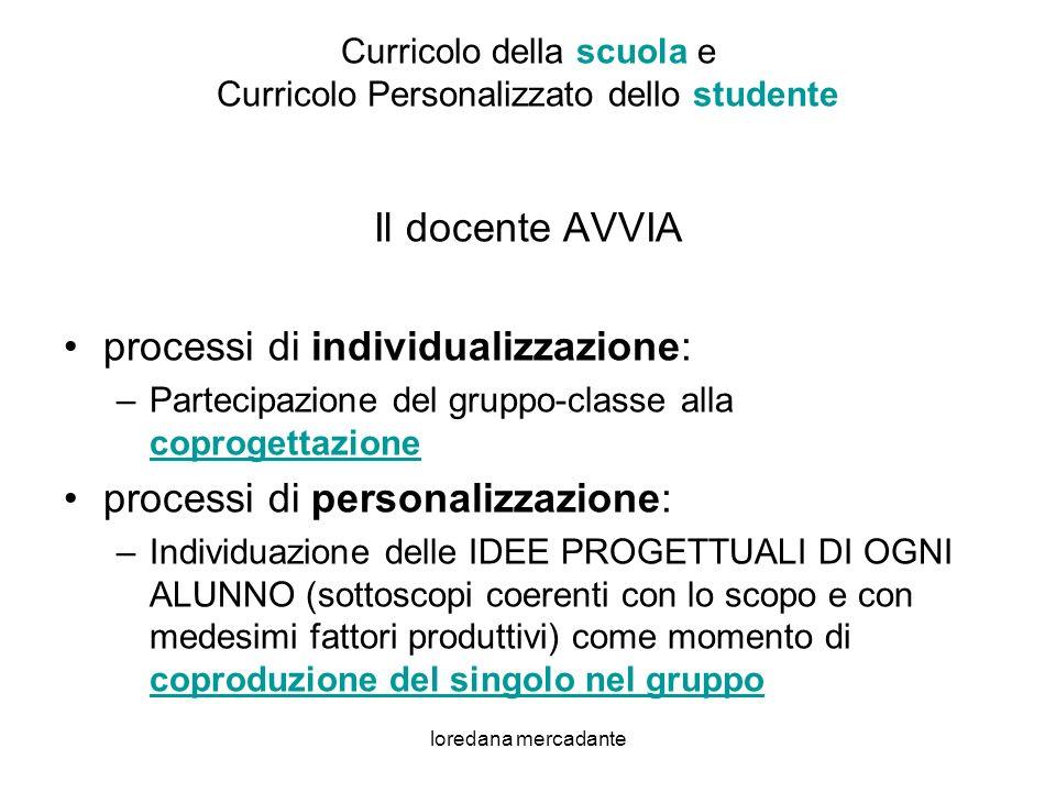Curricolo della scuola e Curricolo Personalizzato dello studente