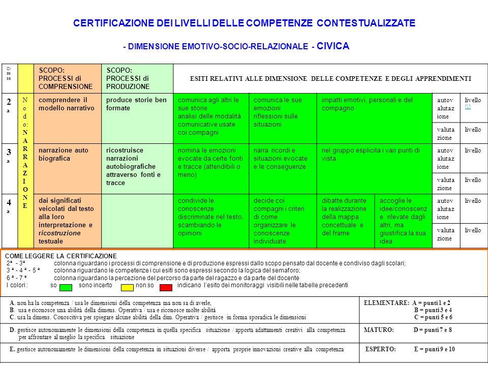 CERTIFICAZIONE DEI LIVELLI DELLE COMPETENZE CONTESTUALIZZATE