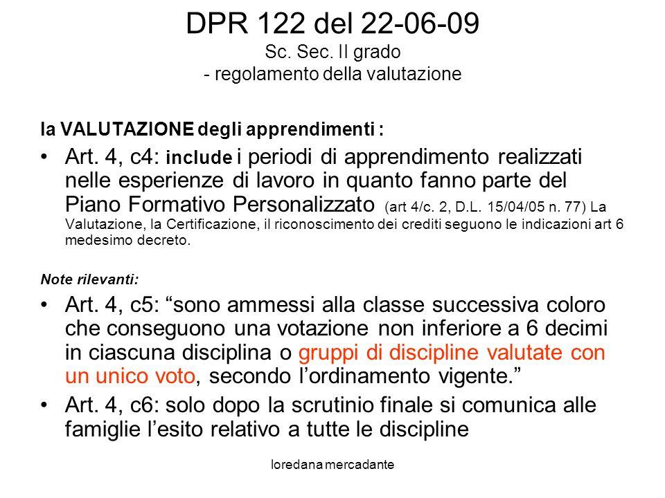 DPR 122 del 22-06-09 Sc. Sec. II grado - regolamento della valutazione